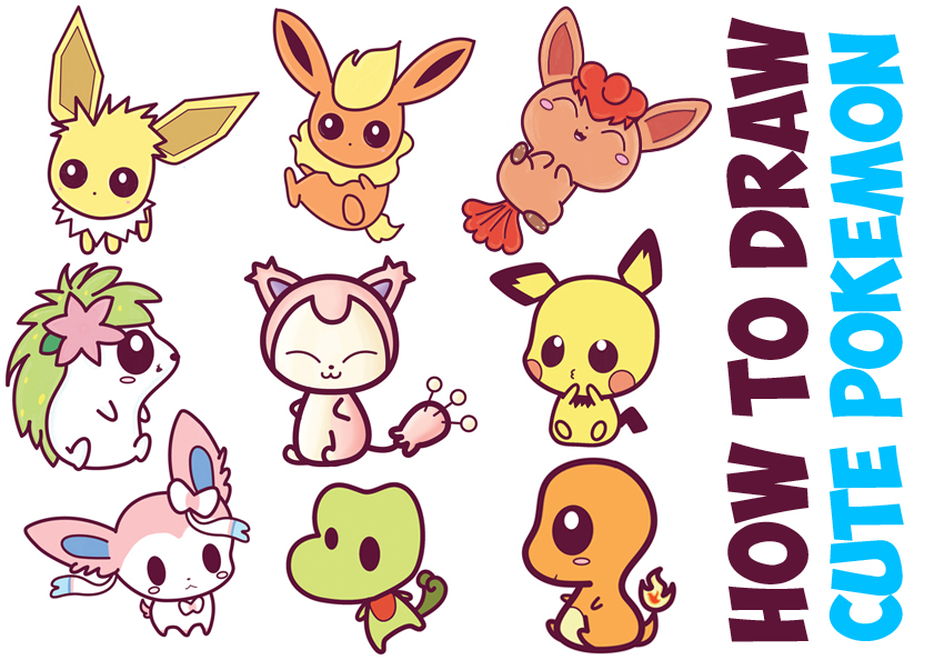 How to Draw Cute Pokemon Characters (Kawaii / Chibi Style) in Easy Step by Step Drawing Tutorial for Kids and Beginners