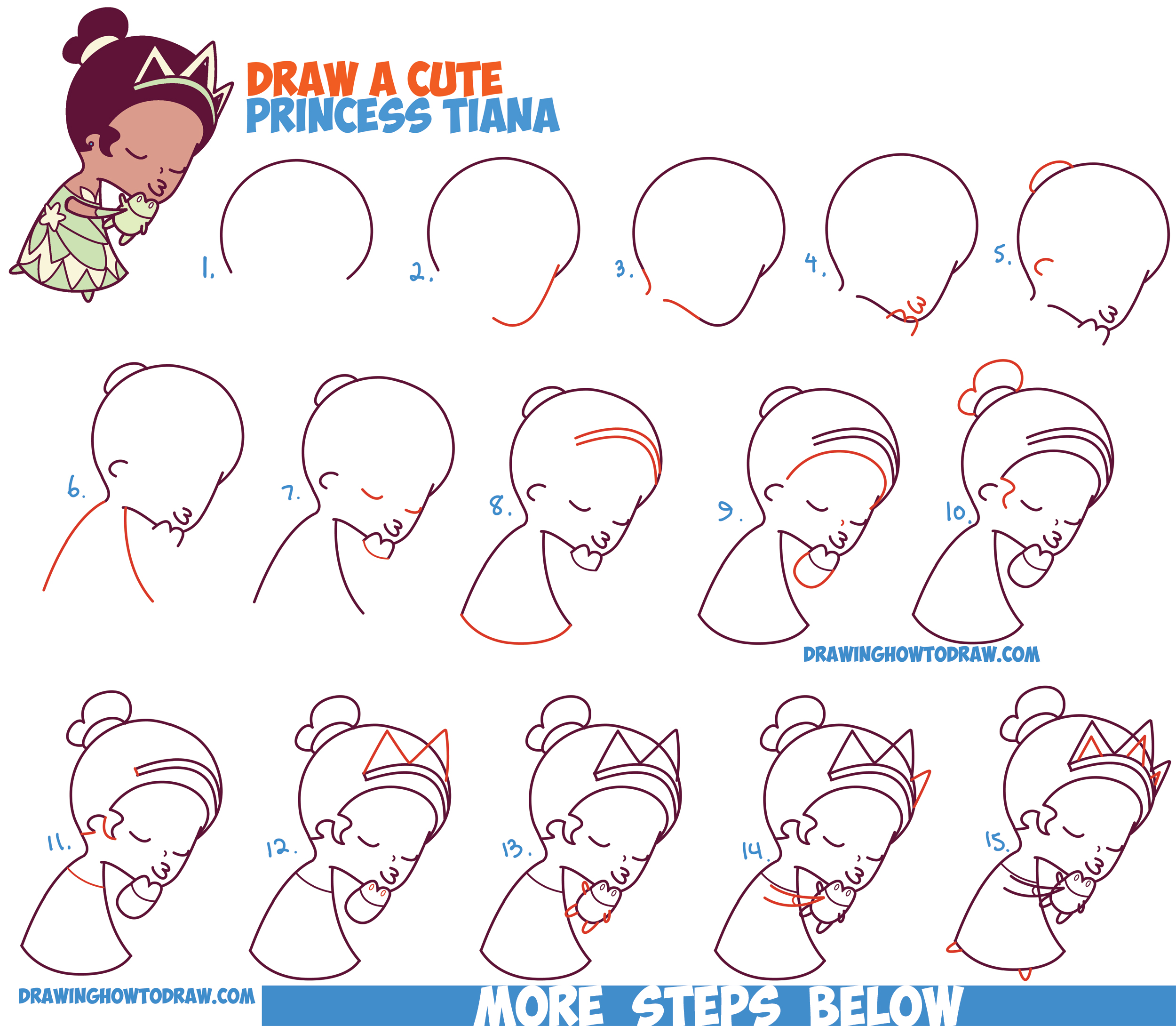 How To Draw Princess Tiana Kissing A Frog (Cute / Chibi