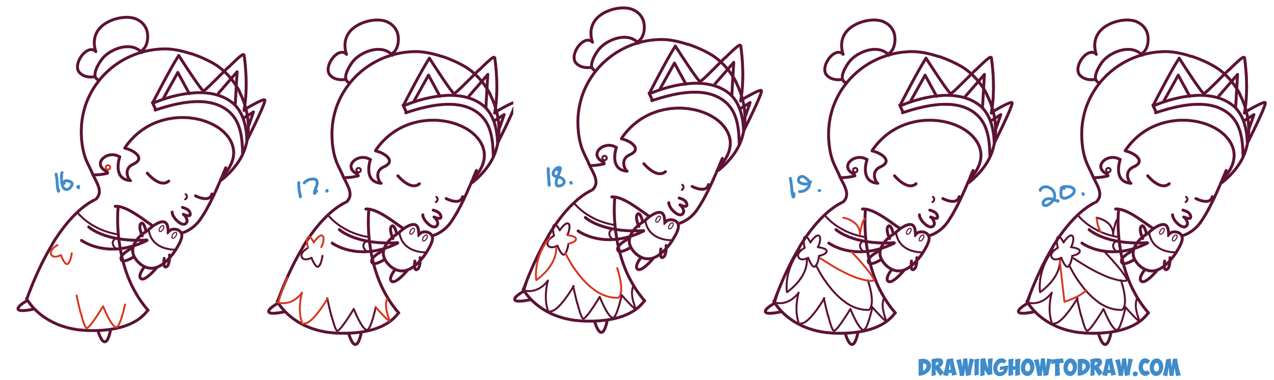How to Draw Princess Tiana Kissing a Frog (Cute / Chibi ...