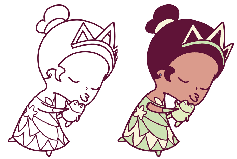 How to Draw Princess Tiana Kissing a Frog (Cute / Chibi ...