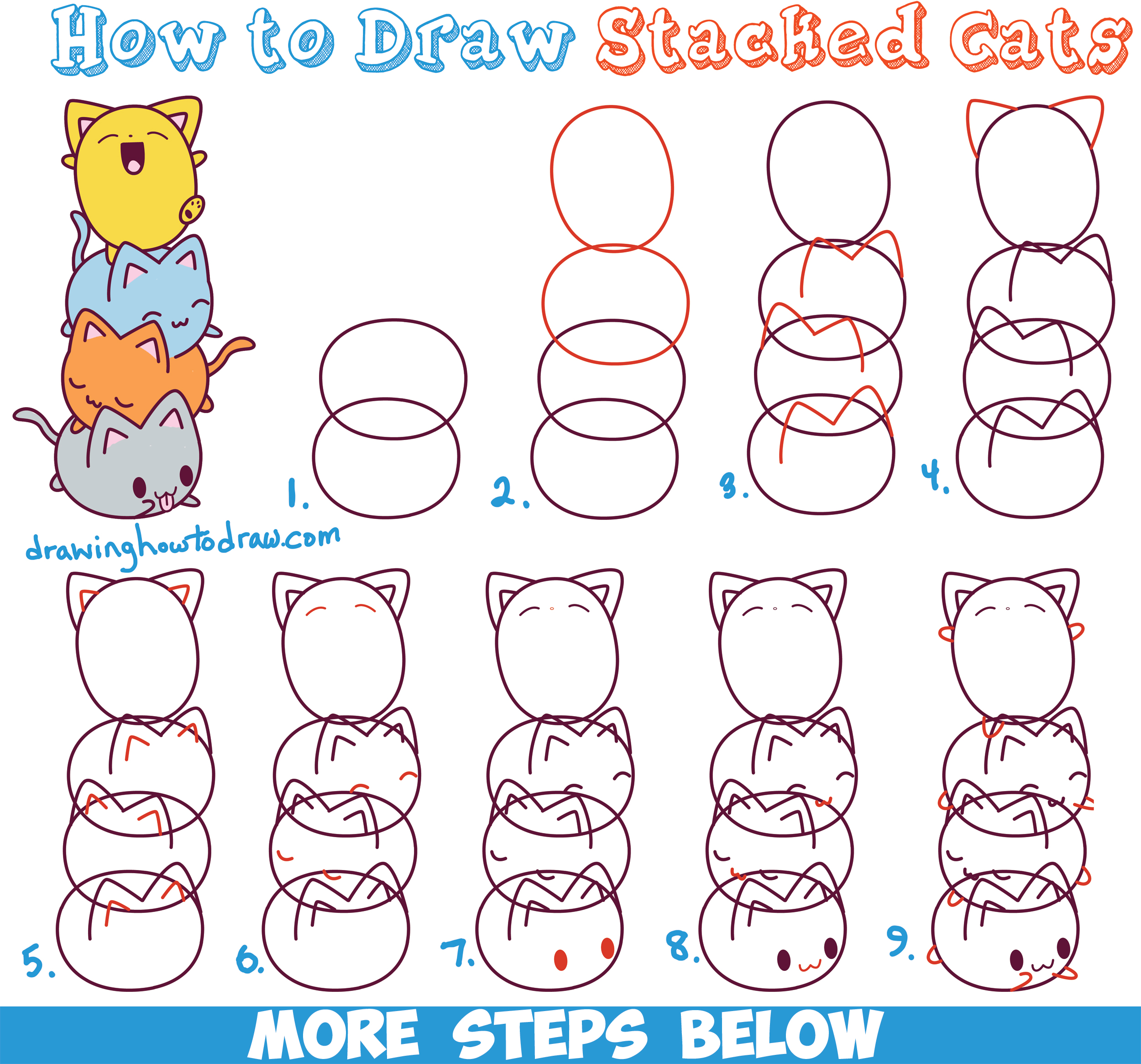 Uncategorized Steps To Draw A Cat how to draw cute kawaii cats stacked on top of each other easy step by