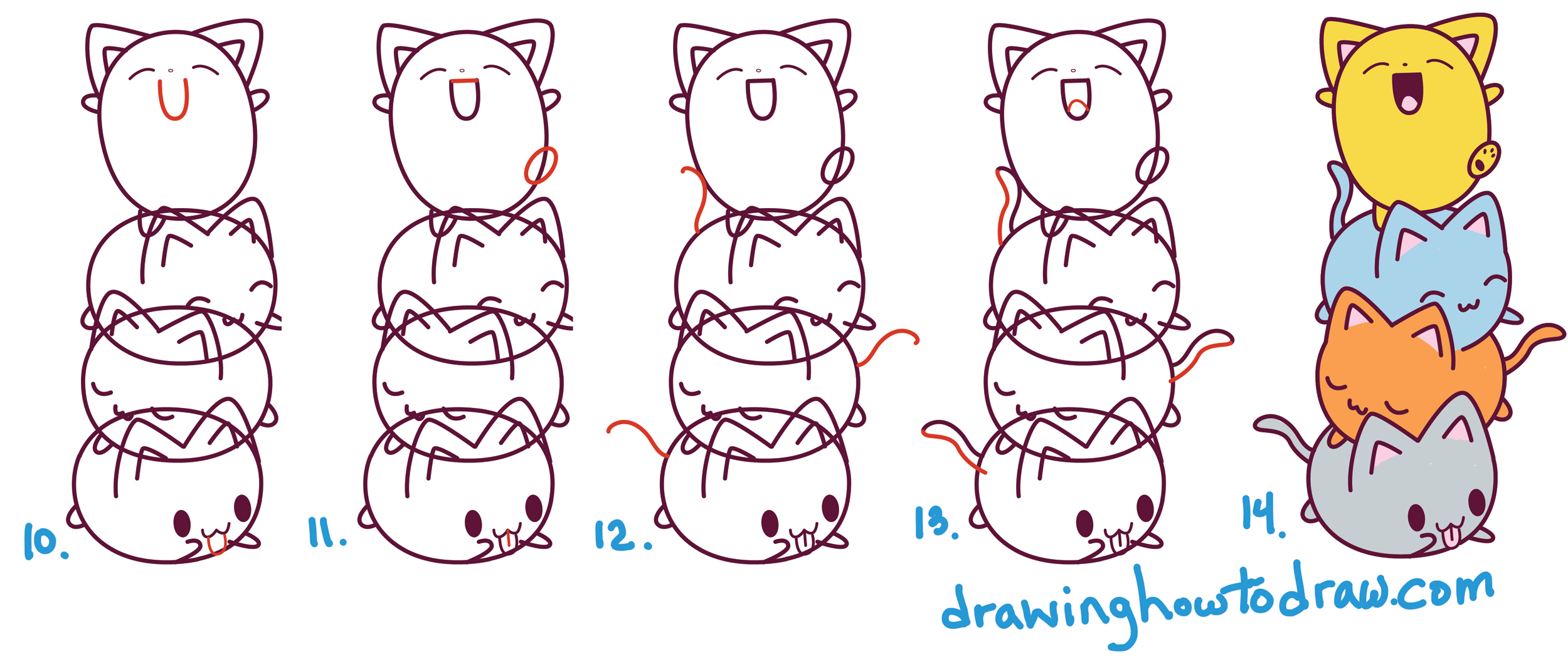 learn how to draw cute cats sitting on top of each other with simple steps drawing lesson for kids and beginners