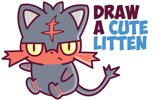 How to Draw Cute Litten Evolution from Pokemon Sun and Moon (Kawaii / Chibi) Easy Step by Step Drawing Tutorial for Beginners