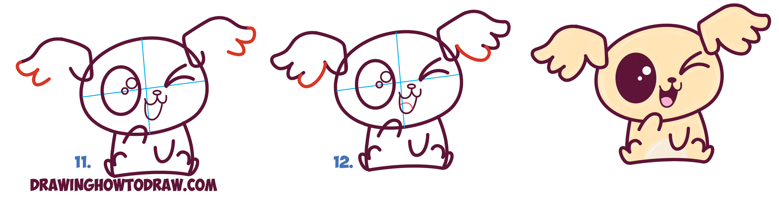 How To Draw Cute Kawaii Chibi Puppy Dogs With Easy Step By Step