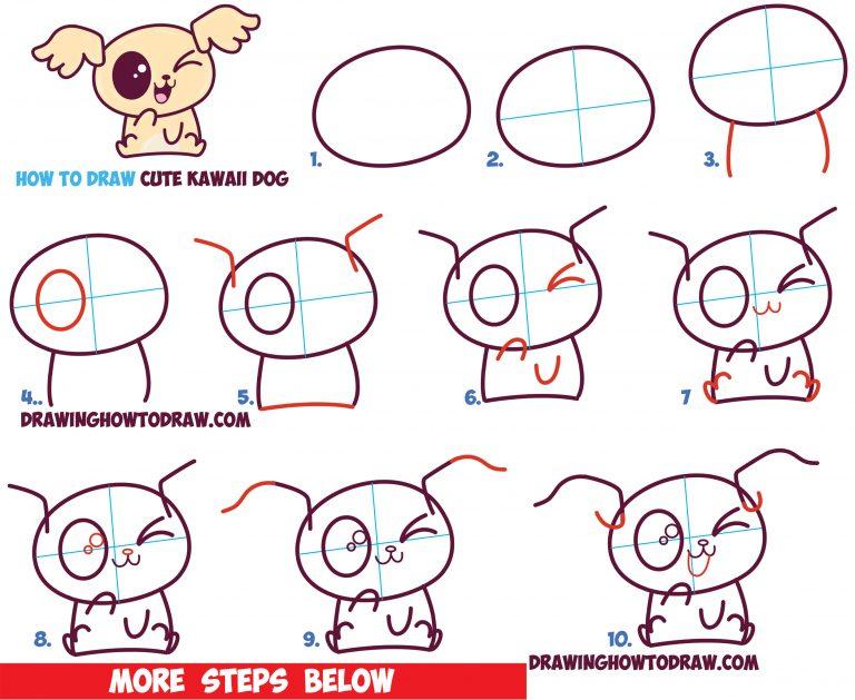 Easy dog drawings steps