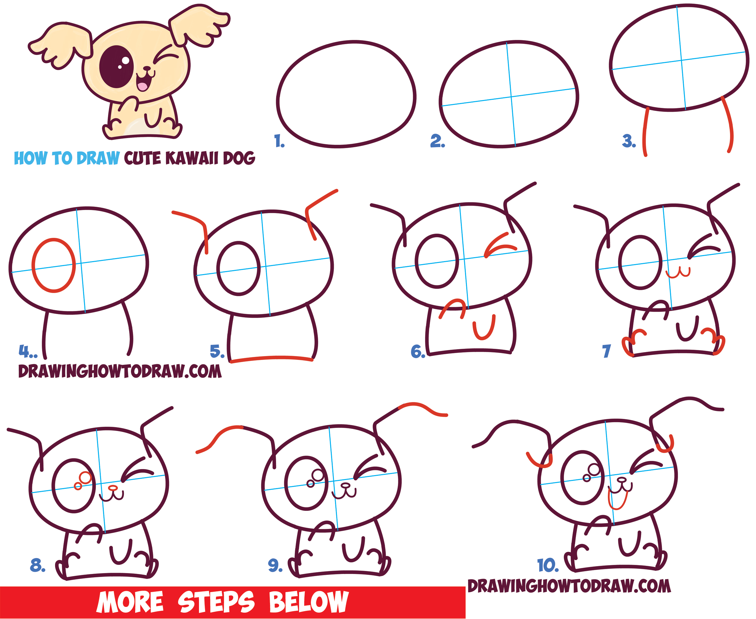 How to draw cute kawaii chibi puppy dogs with easy step for Drawing ideas for beginners step by step