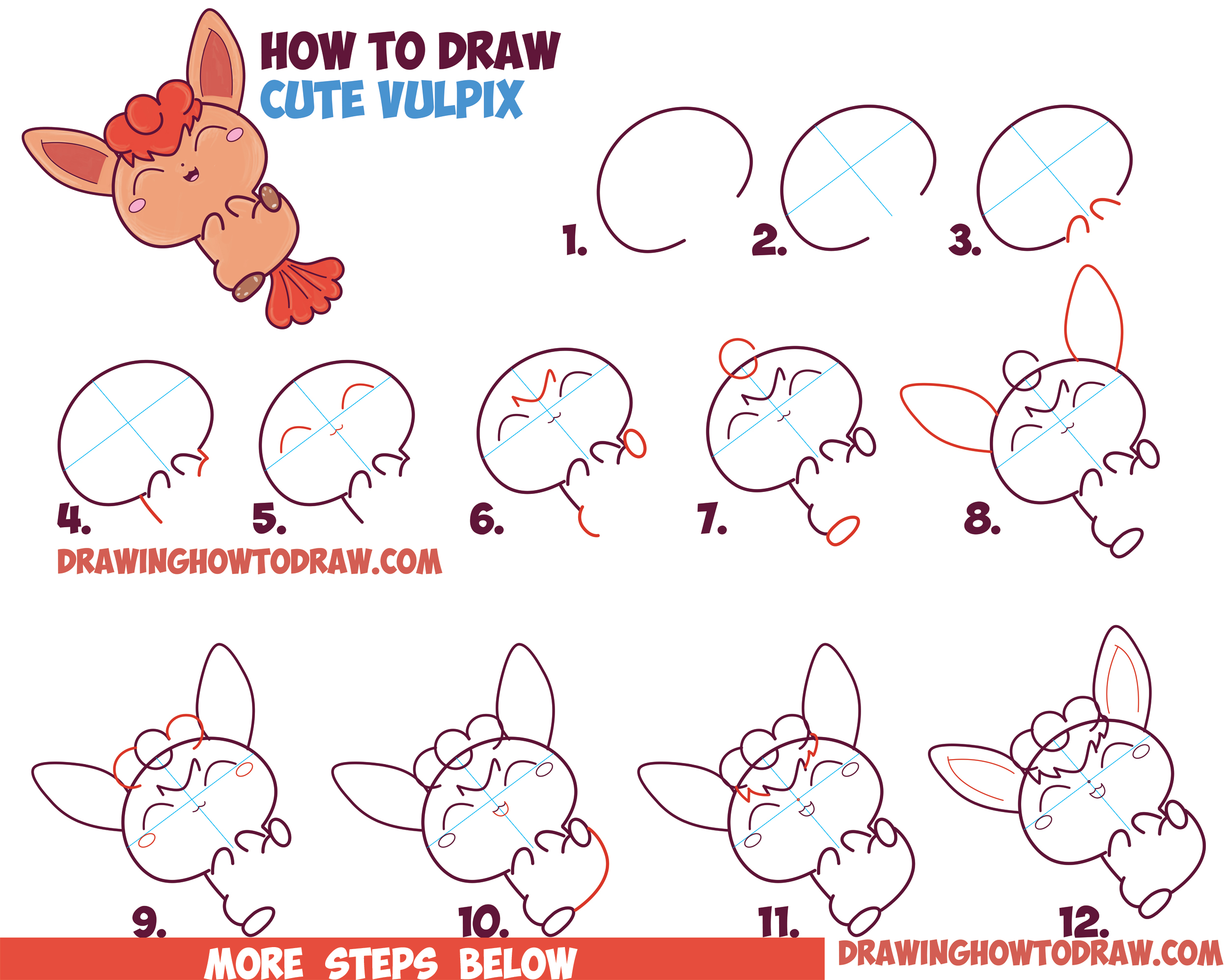 How to Draw a Cute Kawaii Chibi Vulpix from Pokemon in Easy Step by Step Drawing Tutorial for Beginners