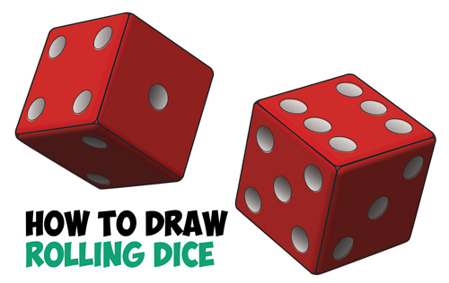 How to Draw Dice Rolling or Being Rolled with Easy Step by Step Drawing Tutorial for Beginners