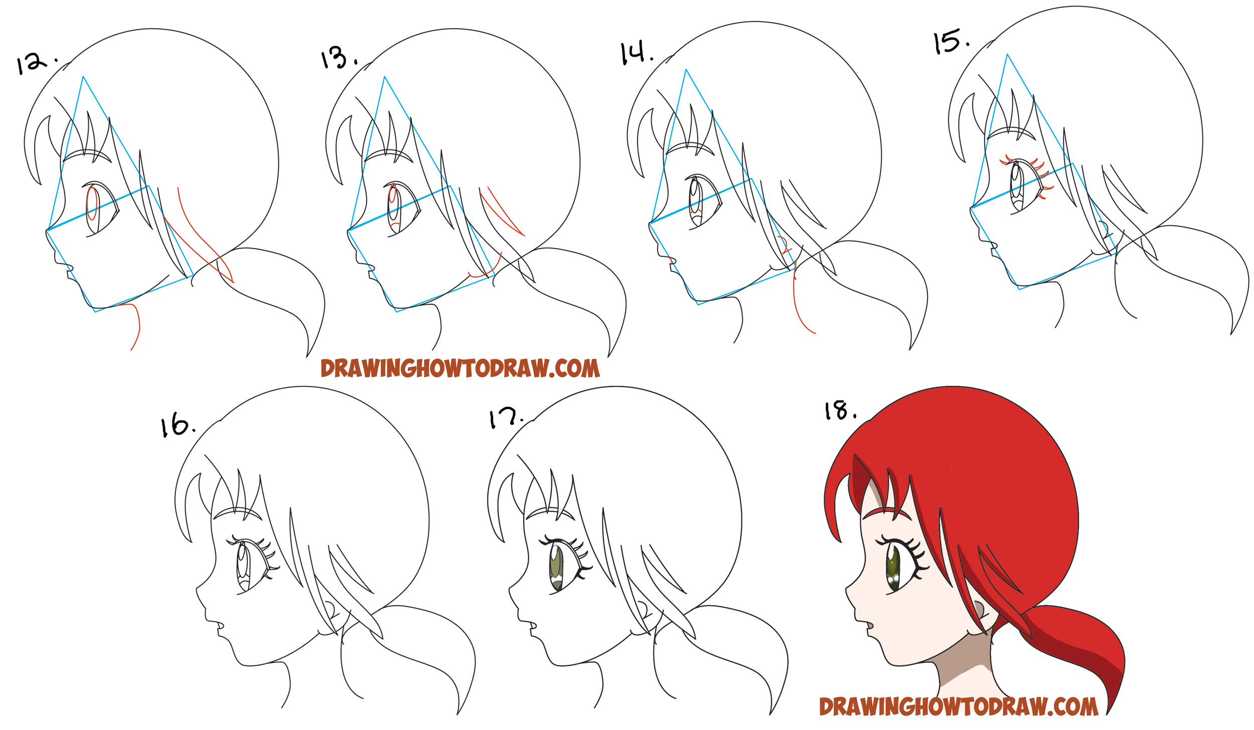 Learn how to draw an anime manga girls face and eyes from the side in