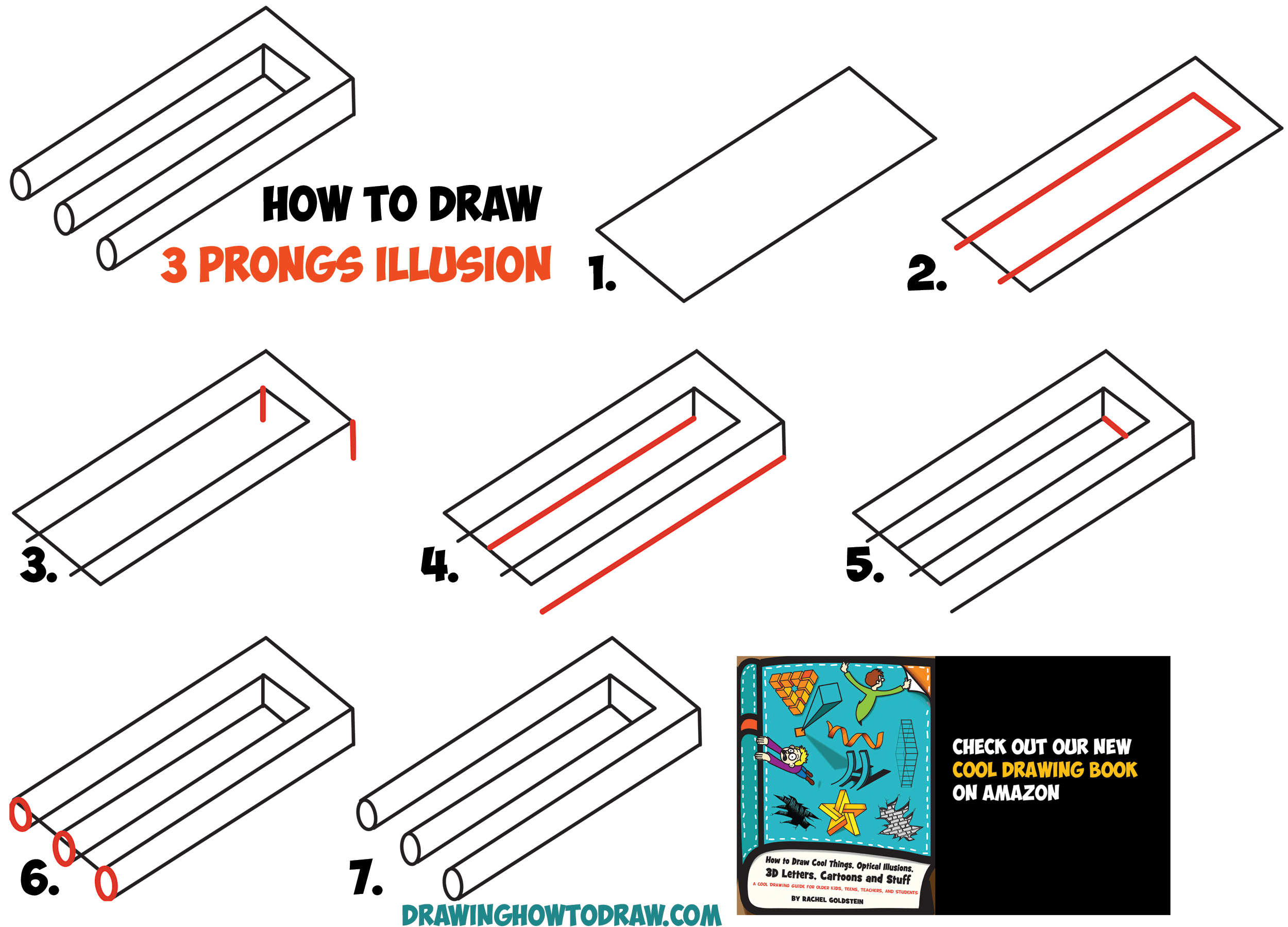 illusions optical draw step easy drawing illusion drawings 3d shapes tutorial prongs impossible trick simple cool steps pencil beginners drawinghowtodraw