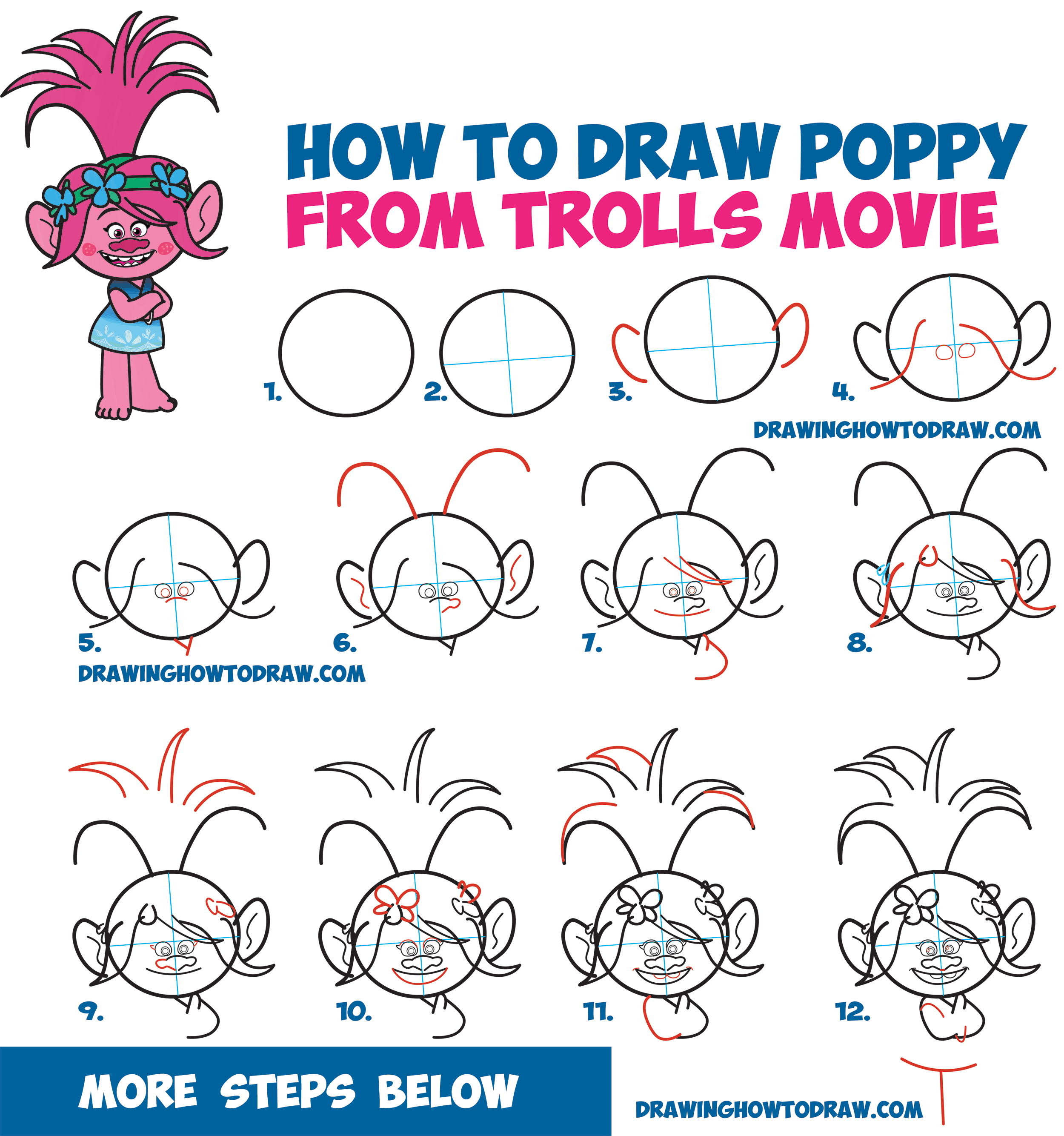 How to draw poppy from the dreamworks trolls movie easy for Learn drawing online step by step