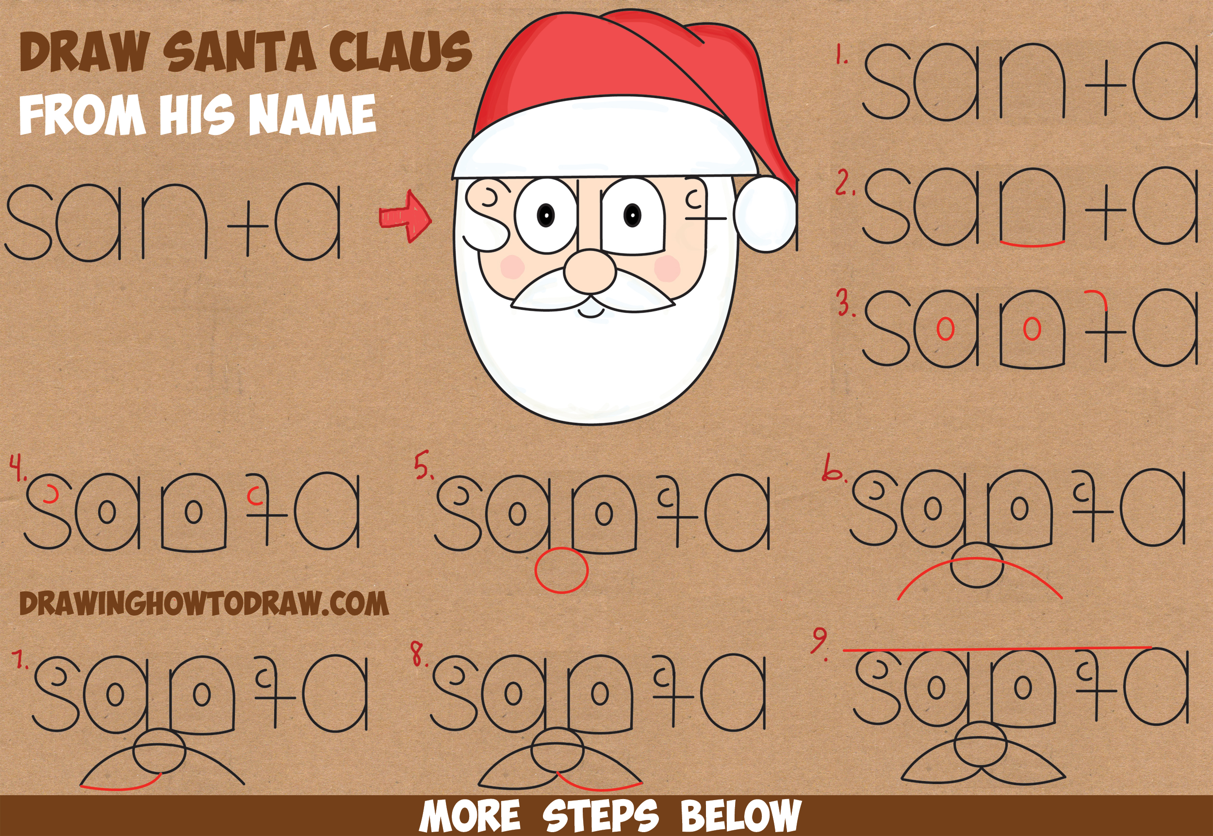 How To Draw Santa Clause From His Name Word Cartoon Toon