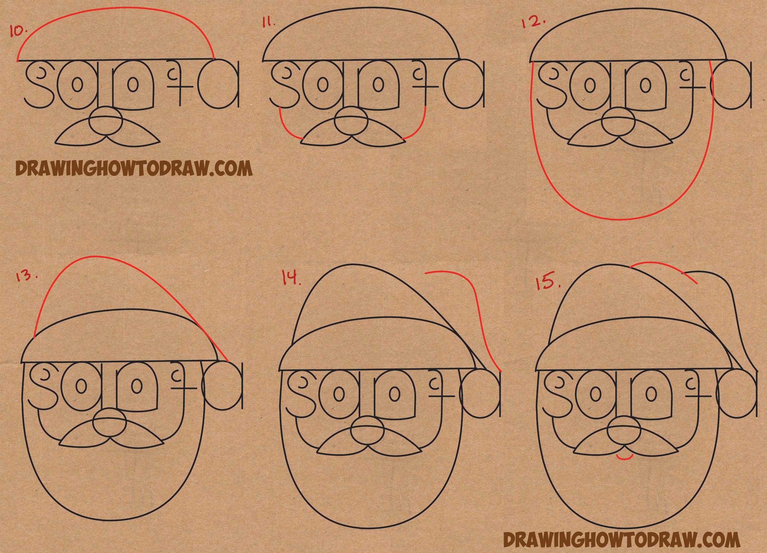 how to draw santa claus face step by step wwwimgkidcom