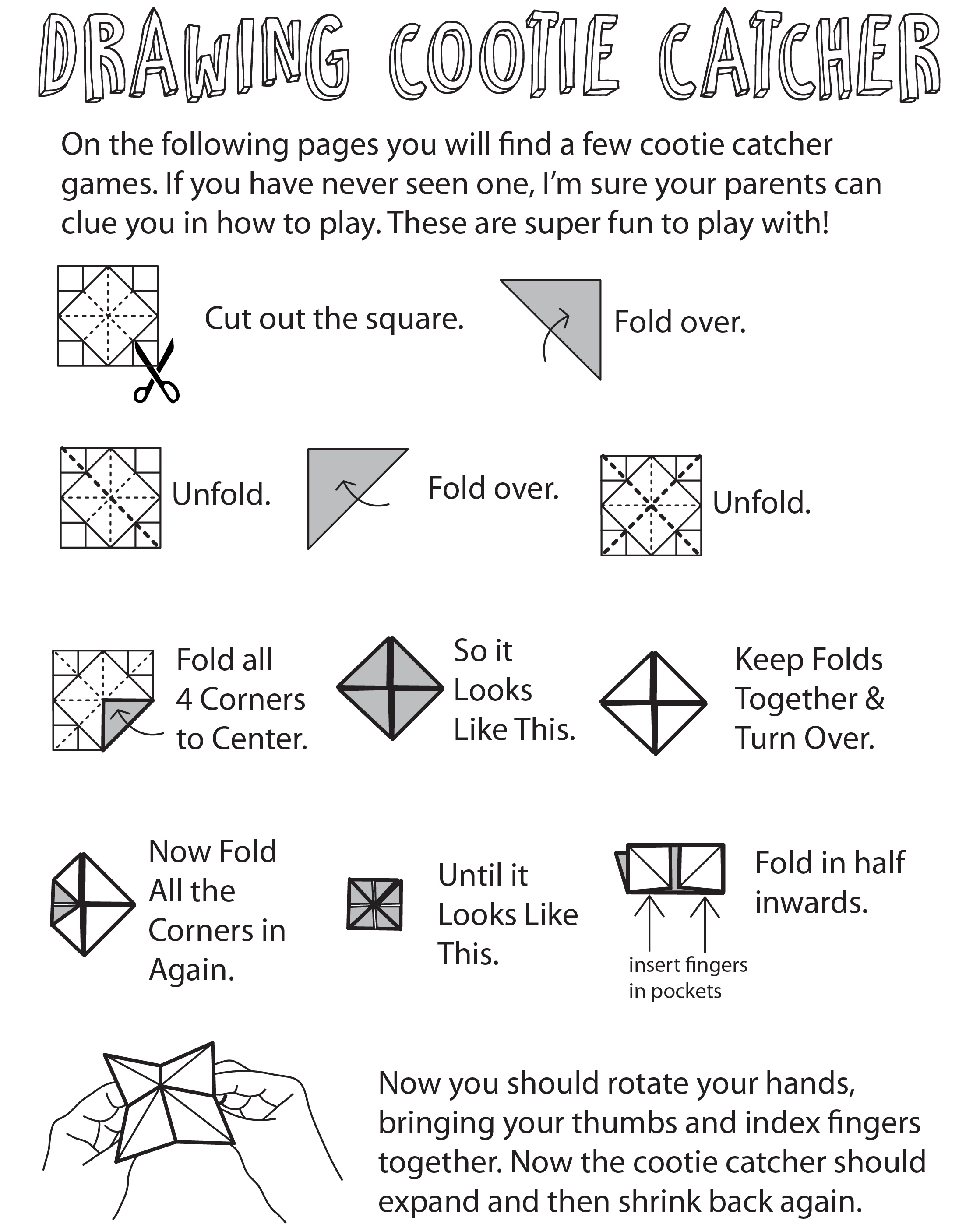 How To Play The Cootie Catcher Drawing Game - Fun For Kids Who Love To Draw - Step By Step ...