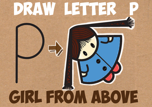 """How to Draw a Cute Cartoon Girl with Braids from Above (from the Letter """"P"""" Shape) - Easy Step by Step Drawing Tutorial for Kids"""