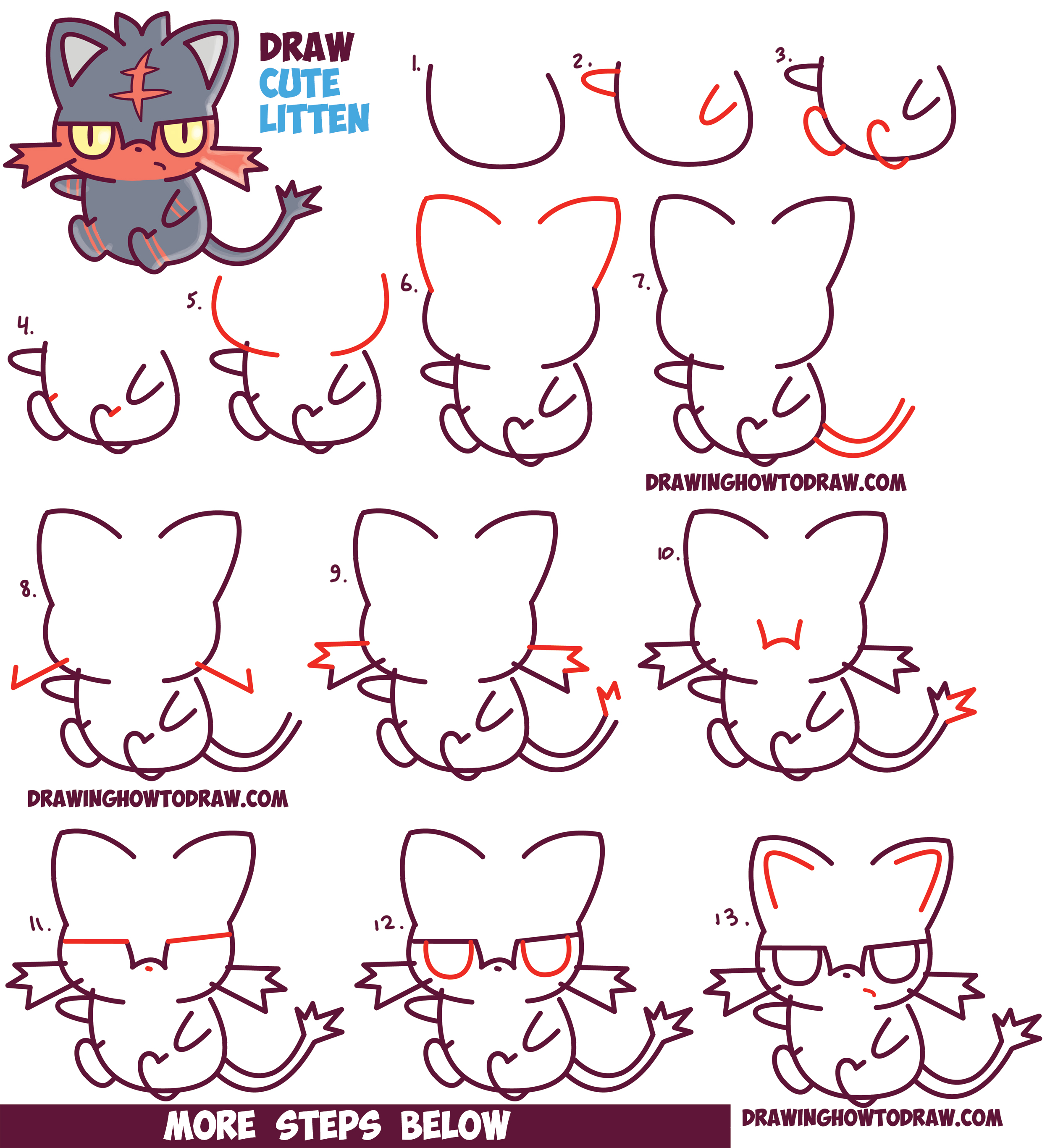 How to Draw Cute Litten Evolution from Pokemon Sun and ...