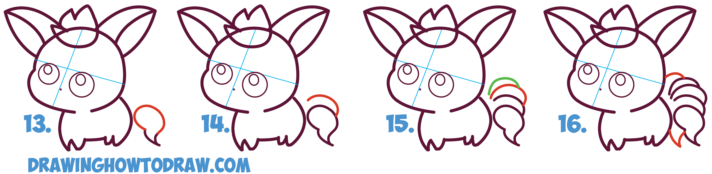 Learn How to Draw Cute / Kawaii / Chibi NineTales from Pokemon in Simple Steps Drawing Lesson for Kids