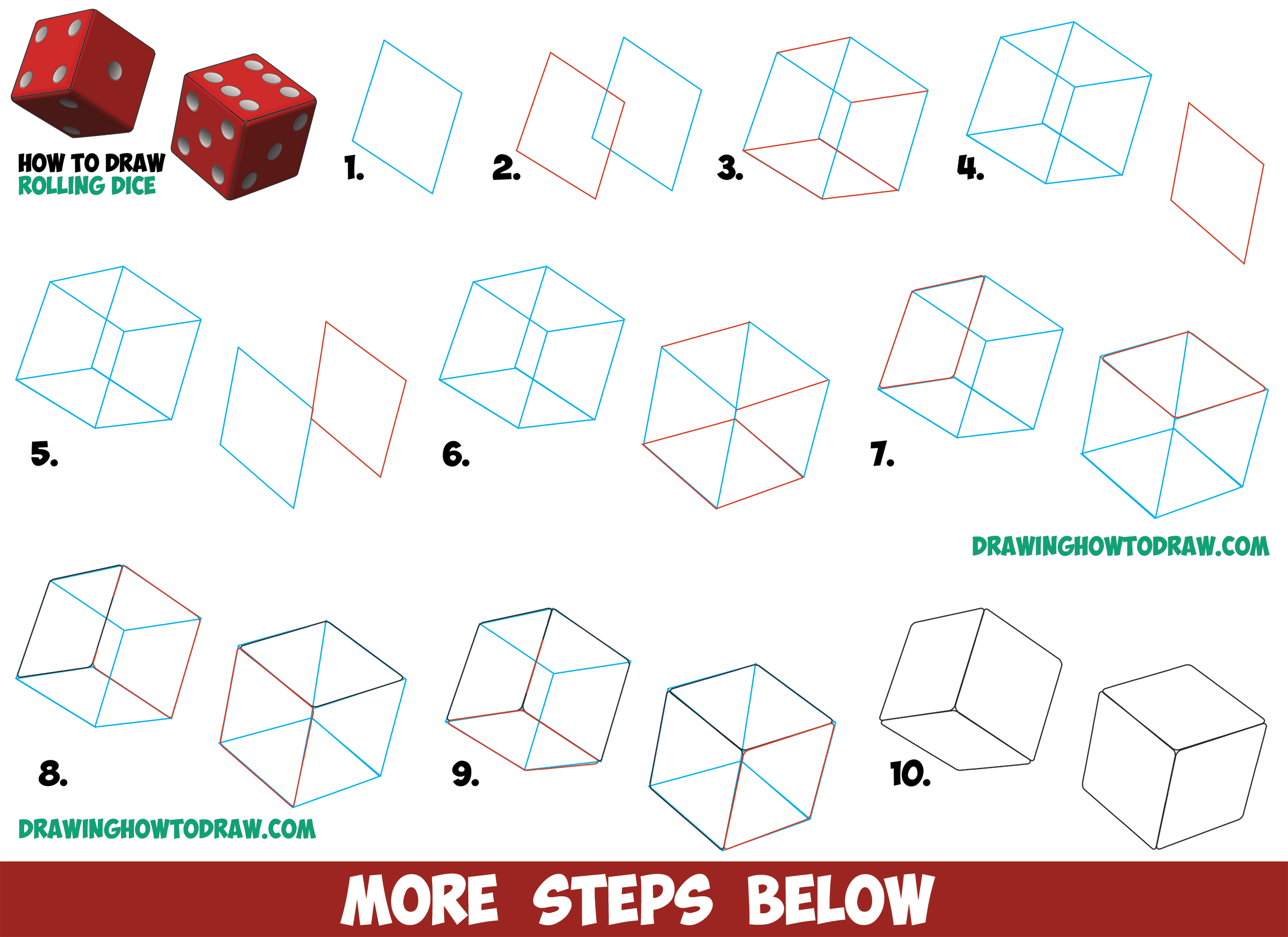 How to draw dice rolling or being rolled with easy step by for Things to draw for beginners step by step