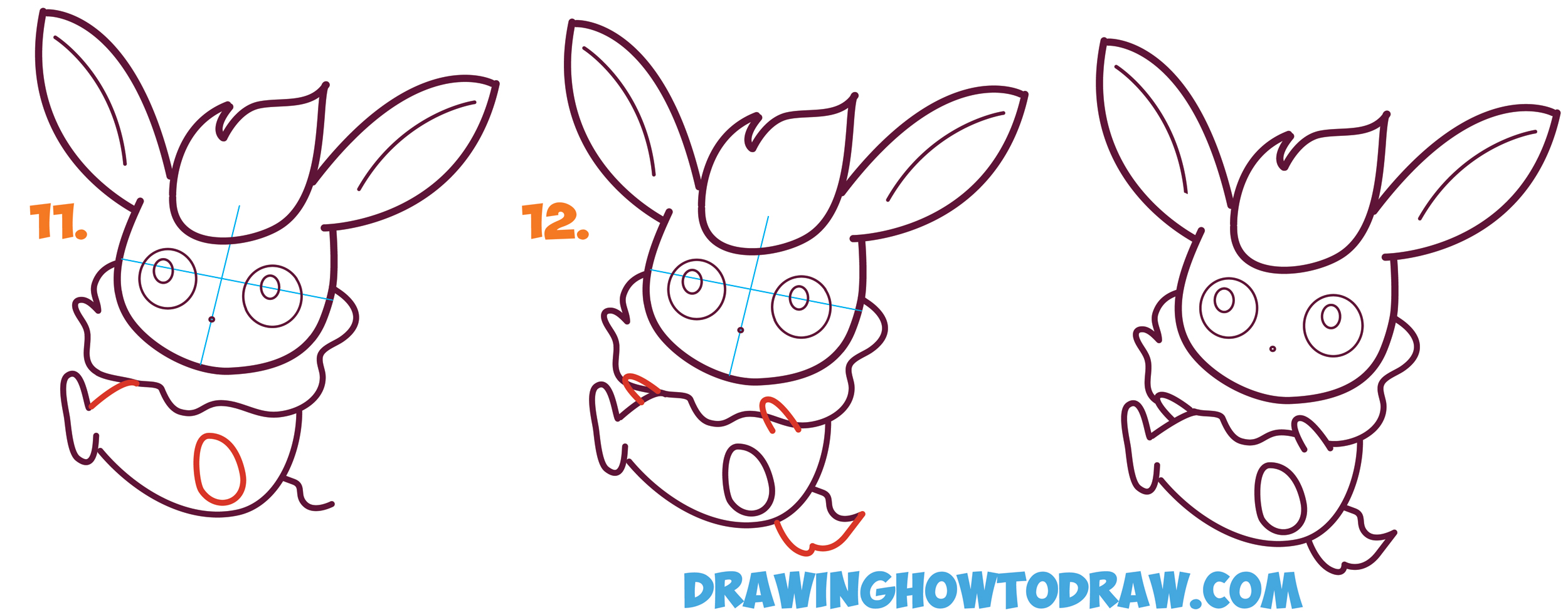 Learn How to Draw in Cute / Kawaii / Chibi / Baby Flareon from Pokemon - Simple Steps Drawing Tutorial for Beginners