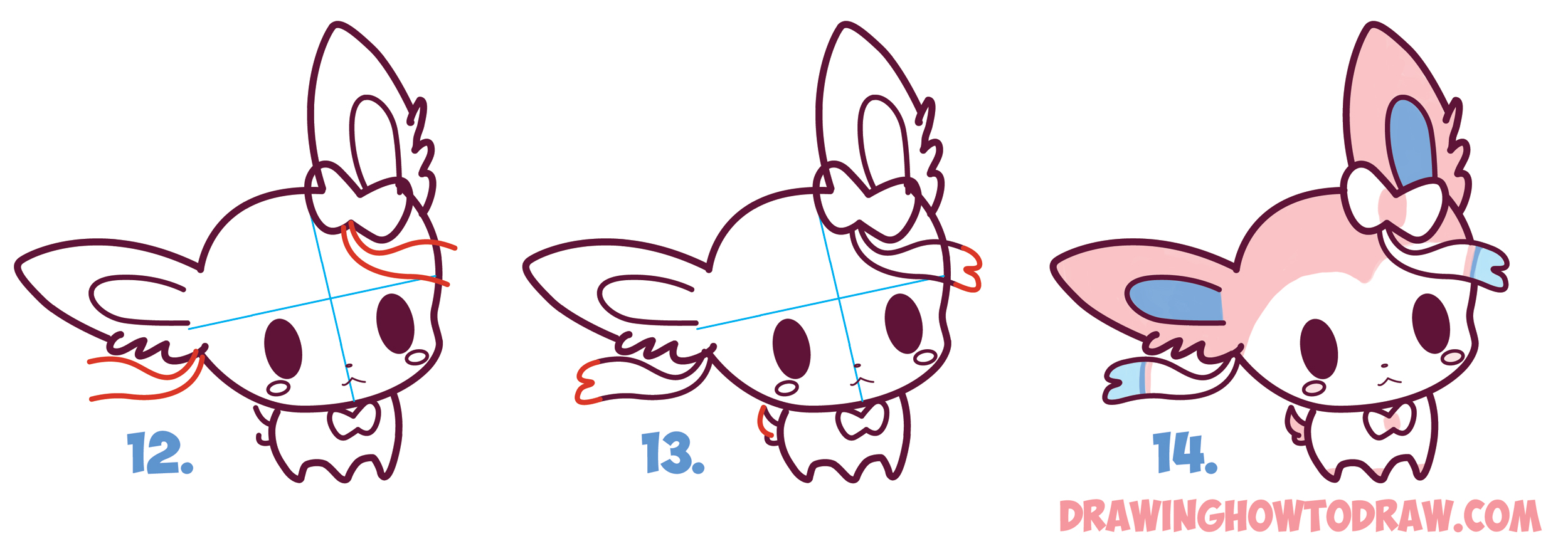 Uncategorized Picture To Draw how to draw cute chibi kawaii sylveon from pokemon in easy step by learn baby style from