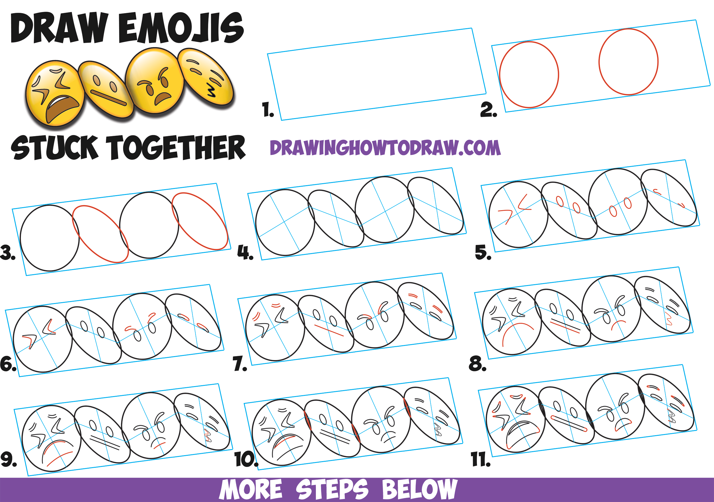 How to Draw Cool 3D Emojis Stuck Together in Accordion Fold Easy Step by Step Drawing Tutorial for Kids