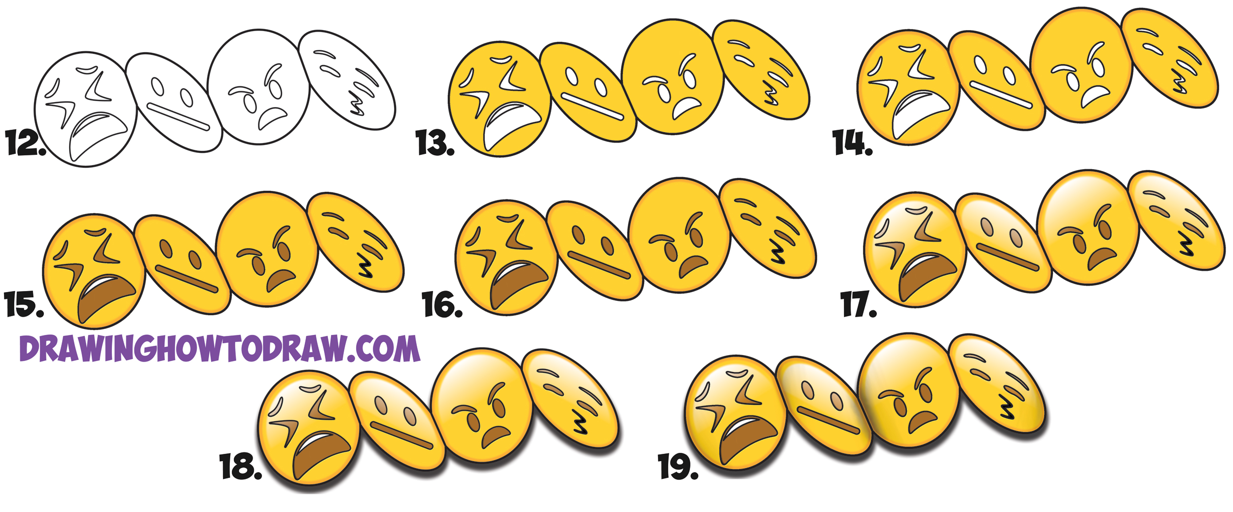 Learn How to Draw Cool 3D Emojis Stuck Together in Accordion Fold Simple Steps Drawing Lesson for Beginners