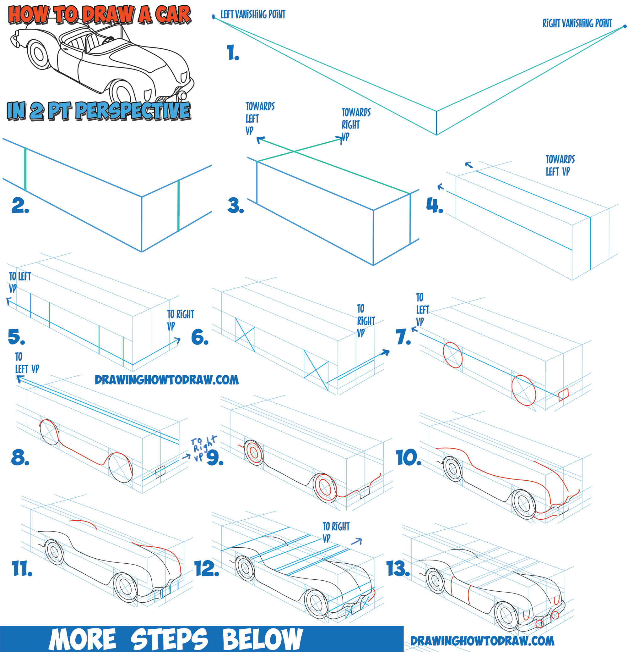 How To Draw A Car Convertible In Two Point Perspective Easy Step By