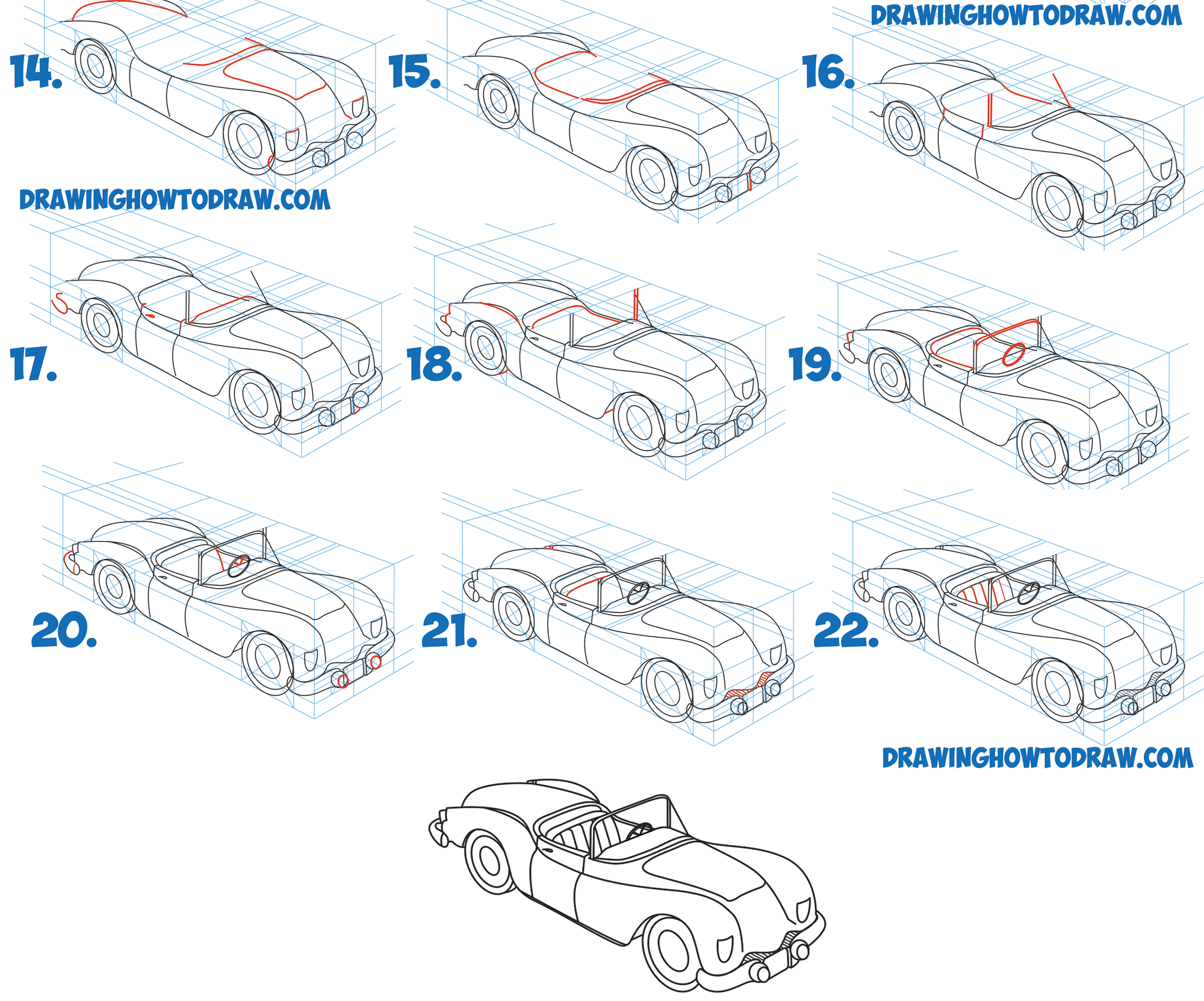 Learn How to Draw a Car Convertible in 2 Pt Perspective in Simple Steps Drawing Lesson for Beginners and Intermediate Artists