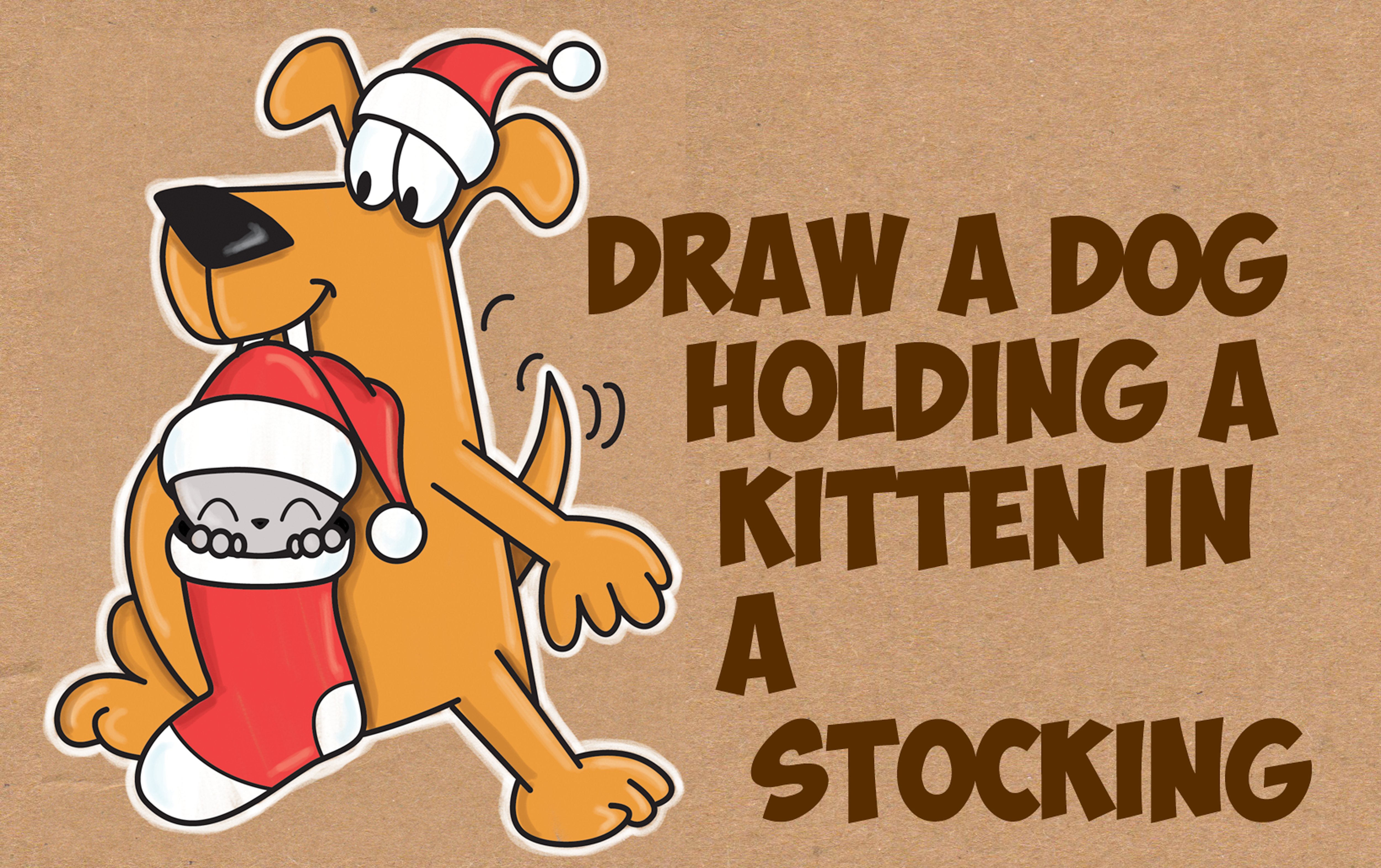 How to Draw a Cartoon Dog Holding a Cute Kawaii Kitten / Cat in a Christmas Stocking - Easy Step by Step Drawing Tutorial for Kids