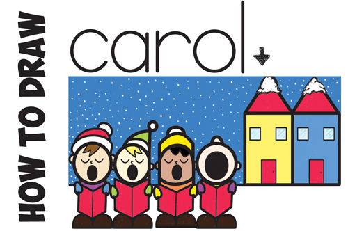 How to Draw Cute Cartoon Christmas Carolers Singing Word Cartoon Easy Step by Step Drawing Tutorial for Kids