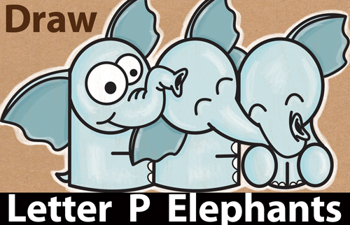 How to Draw Cute Cartoon Elephants Hugging from Letter 'P' Shapes - Easy Step by Step Drawing Tutorial for Kids