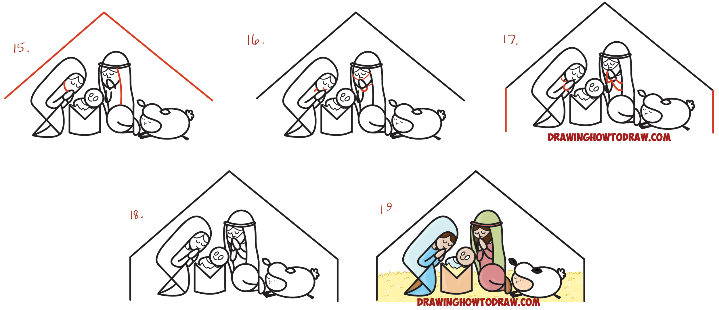 Learn How to Draw Cartoon Nativity Scene with Mary, Jesus, and Joseph in a Manger : Xmas Word Toon Simple Steps Drawing Lesson for Kids
