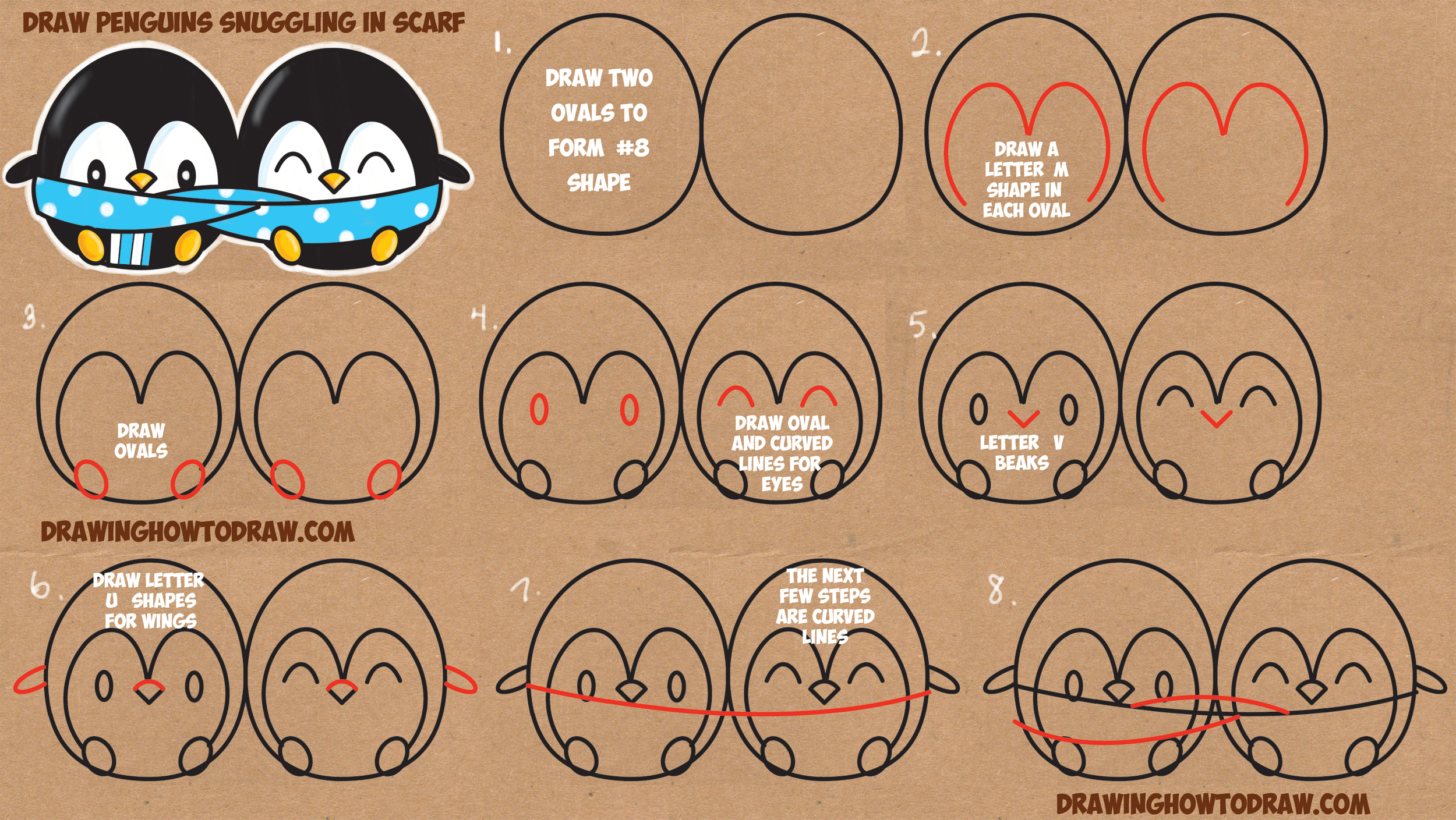 How to Draw Cute Kawaii / Chibi Cartoon Penguins in a Scarf for Winter Easy Step by Step Drawing Tutorial for Kids