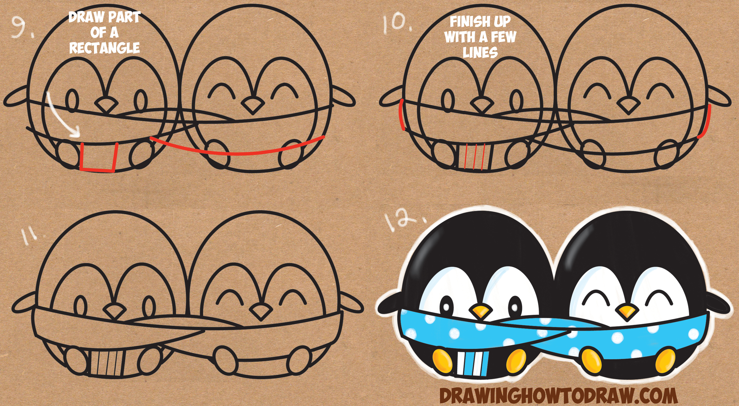Learn How to Draw Cute Kawaii / Cartoon Penguins in a Scarf Snuggling in the Winter Simple Steps Drawing Lesson for Beginn