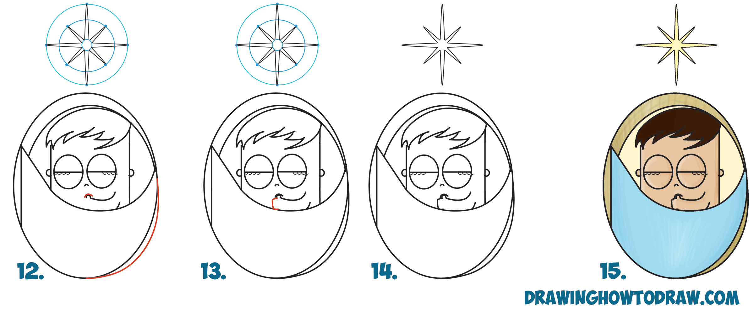 "Learn How to Draw Cute Cartoon Baby Jesus Sleeping Under the North Star from the Word ""Noel"" - Simple Step by Step Christmas Drawing Tutorial for Kids"