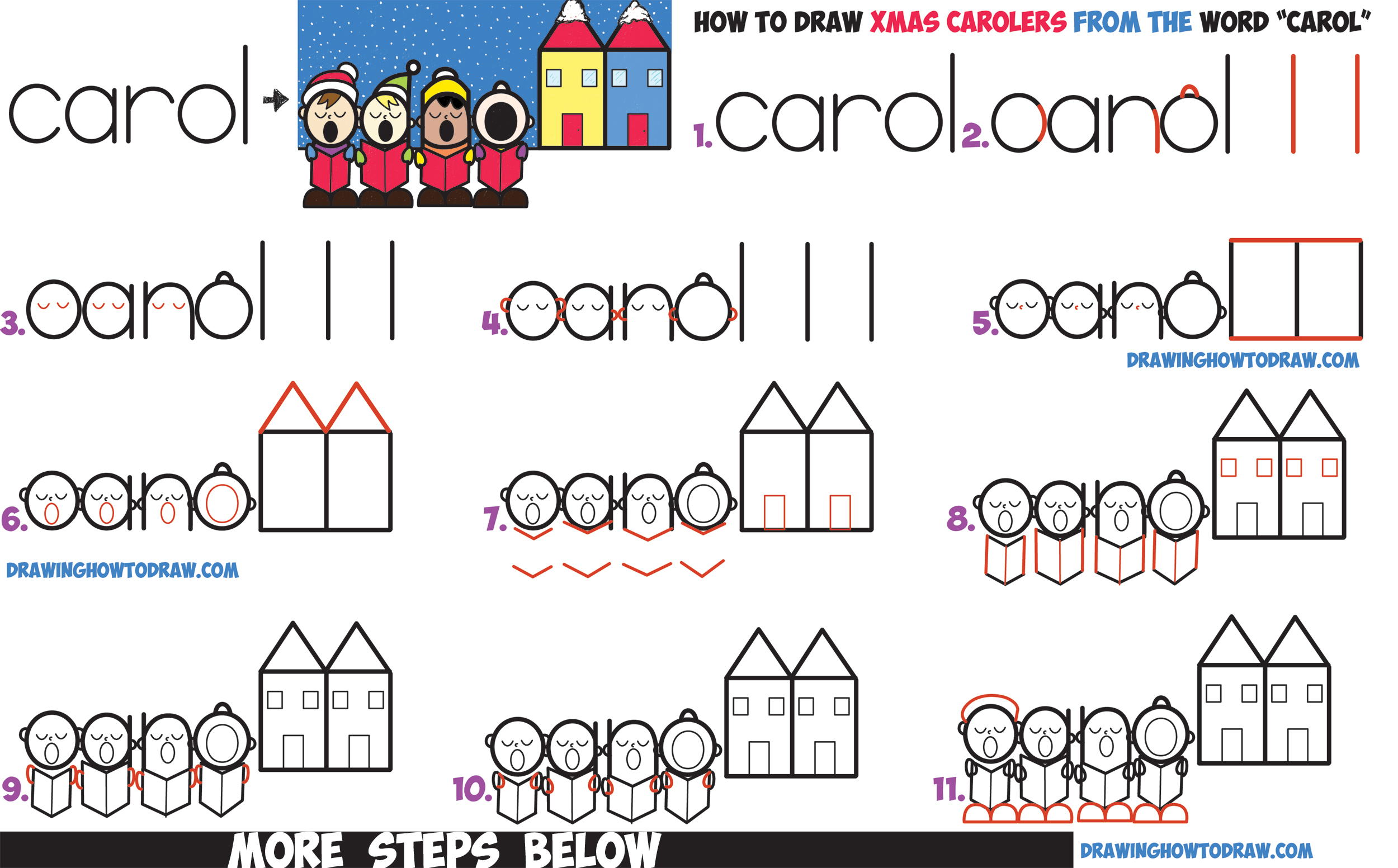 how to draw cute cartoon christmas carolers singing word cartoon