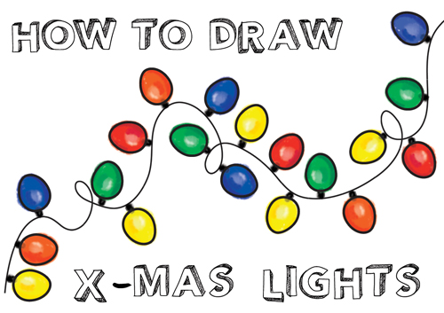 how to draw and paint or color christmas lights for kids or beginners with easy step by step drawing tutorial - Christmas Drawings Step By Step