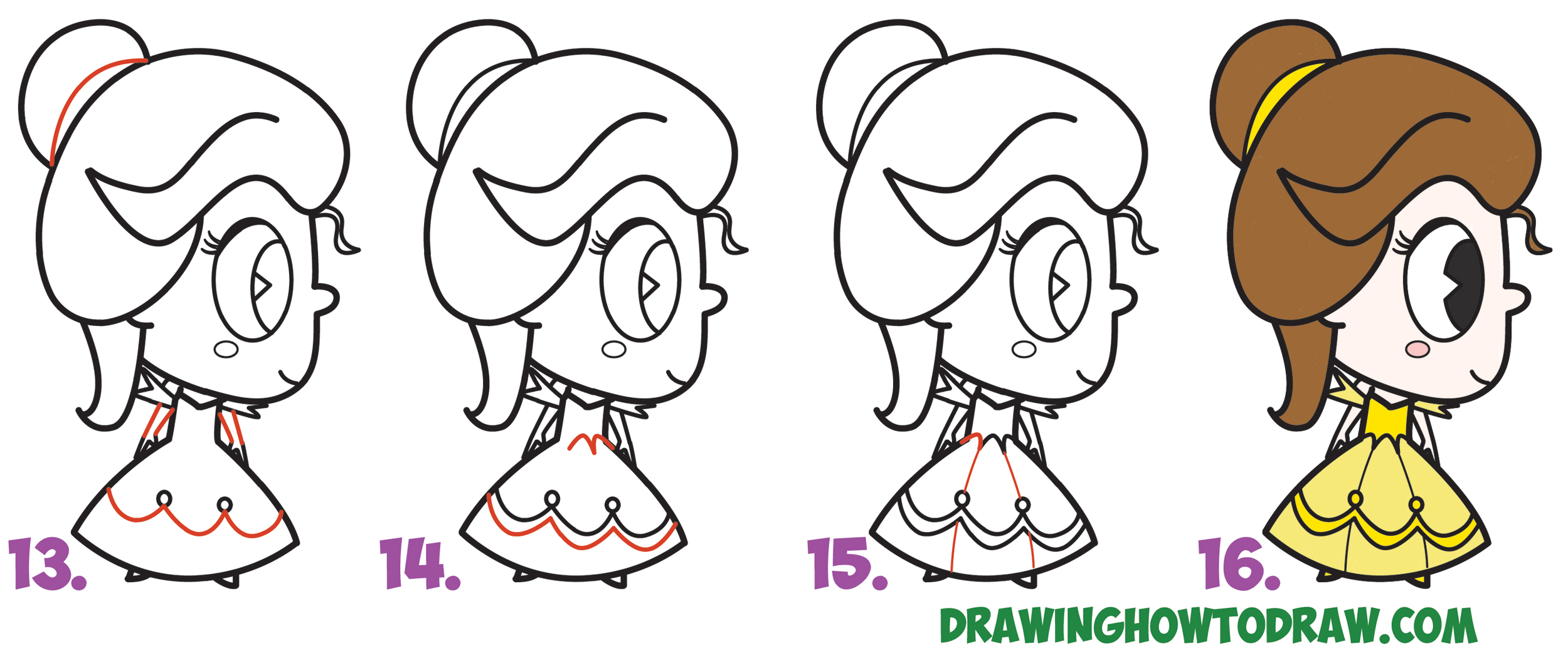 Learn How to Draw Cute Kawaii Chibi Belle from Disney's Beauty and the Beast Simple Steps Drawing Leson for Beginners