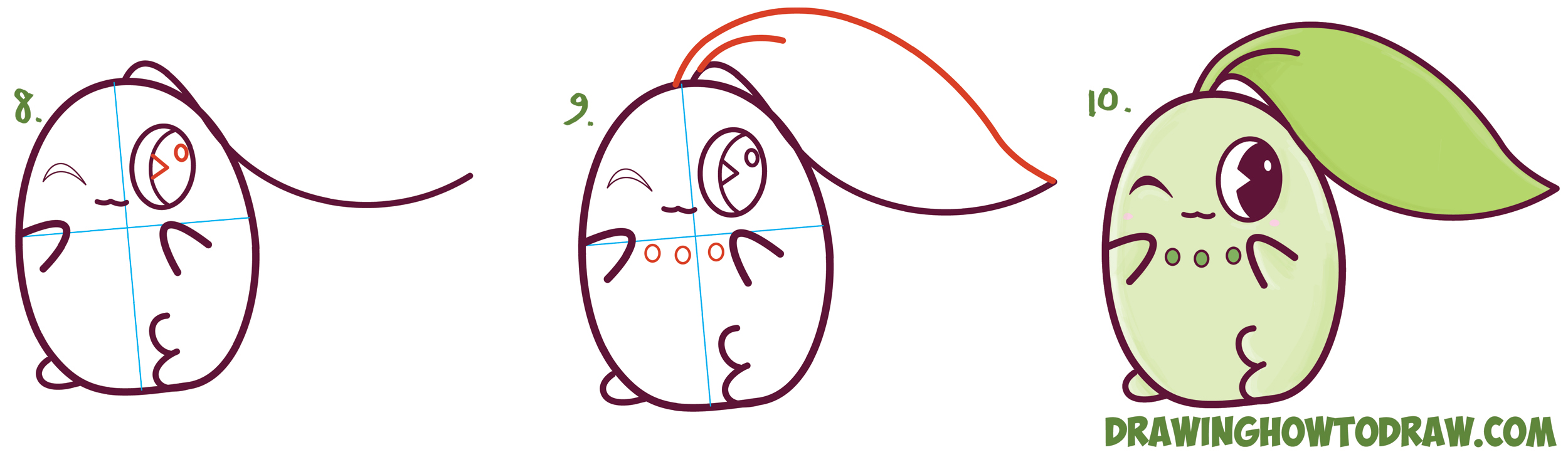 Learn How to Draw Cute / Kawaii / Chibi Chikorita from Pokemon in Simple Steps Drawing Lesson for Kids