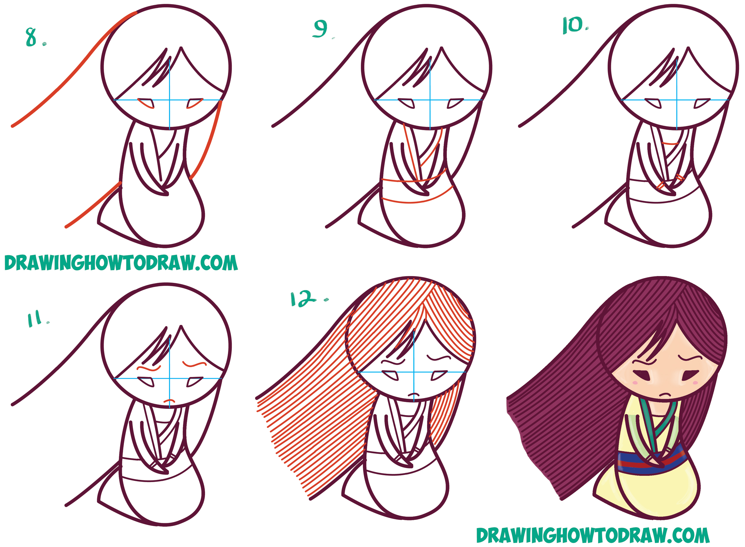 Uncategorized Disney Drawings Step By Step how to draw cute kawaii chibi mulan the chinese disney princess learn simple steps drawing