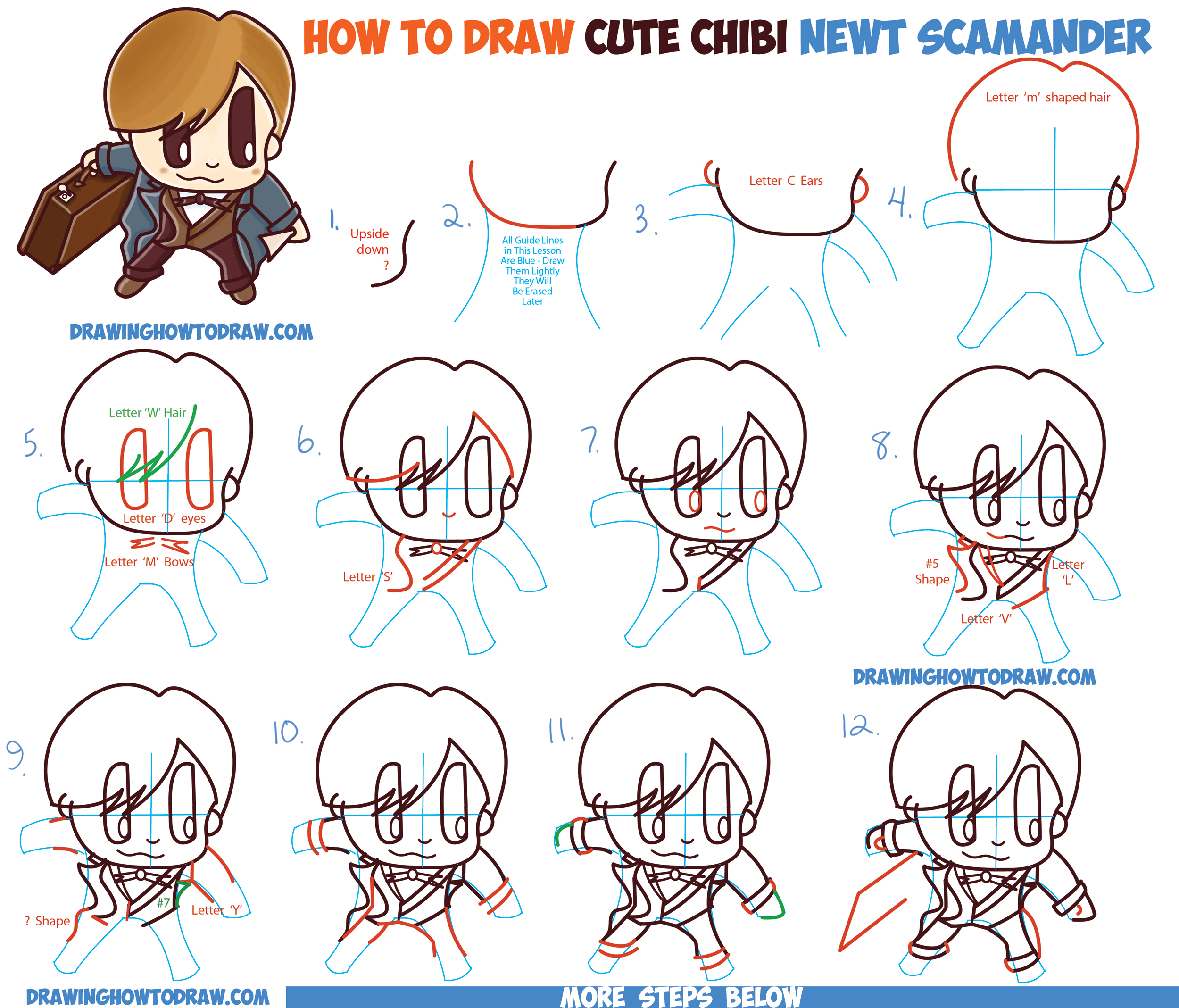 How To Draw Chibi Newt Scamander From Fantastic Beasts And Where Find Them Harry