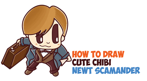 How to Draw Chibi Newt Scamander from Fantastic Beasts and Where to Find Them / Harry Potter : Easy Step by Step Drawing Tutorial for Kids