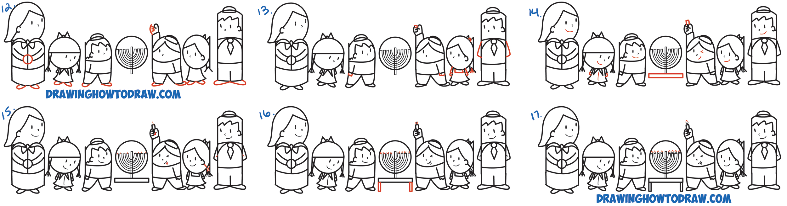 Learn How to Draw Cartoon Jewish Kids Lighting a Menorah for Hanukkah / Chanukah Word Cartoon Simple Steps Drawing Lesson