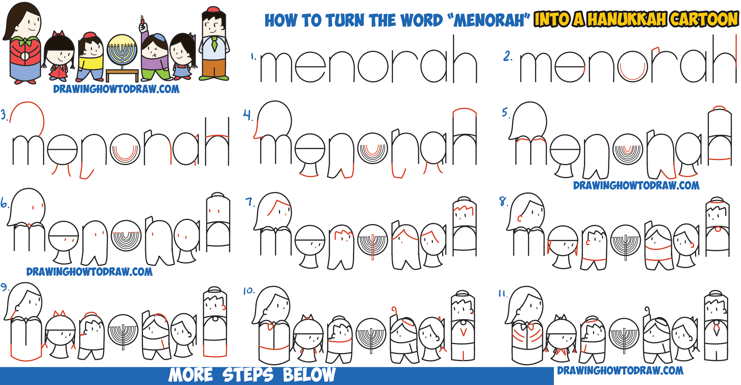 How to Draw Cartoon Jewish Kids Lighting a Menorah for Hanukkah / Chanukah Word Cartoon Easy Step by Step Drawing Tutorial