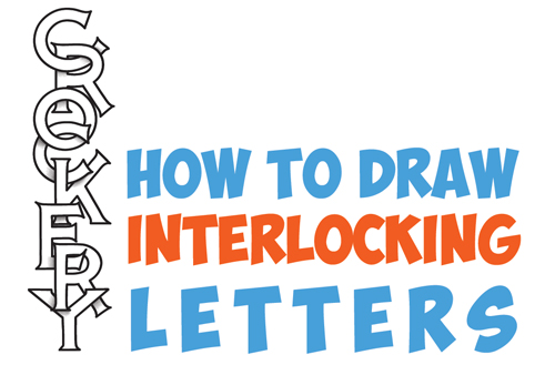 How To Draw Cool 3D Interlocking Letters In Easy Step By Drawing Tutorial For Kids