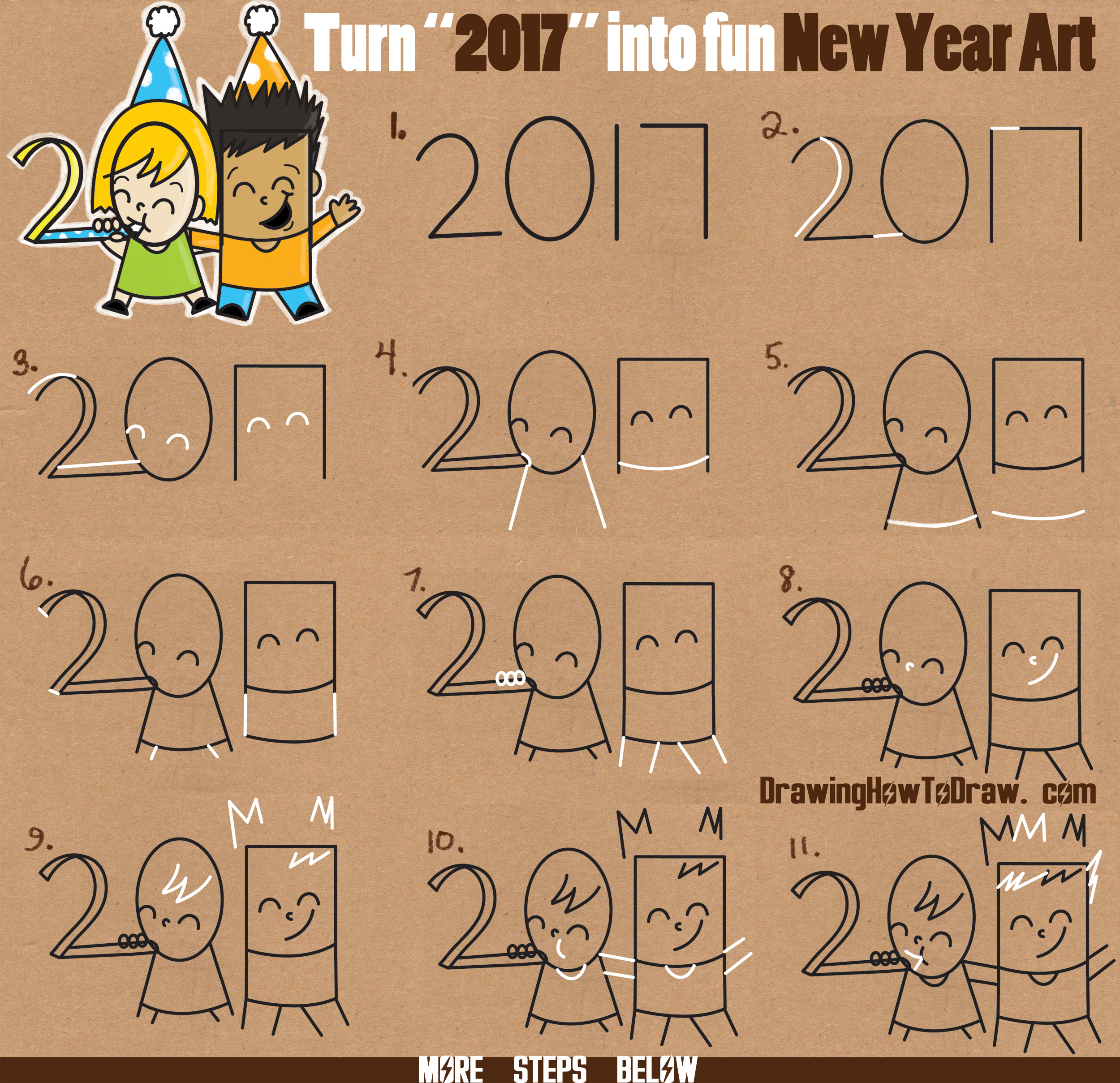 """How to Draw New Years Eve / New Year Word Cartoon Art of Kids Celebrating from the Year """"2017"""" Easy Word Toon Tutorial for Kids"""