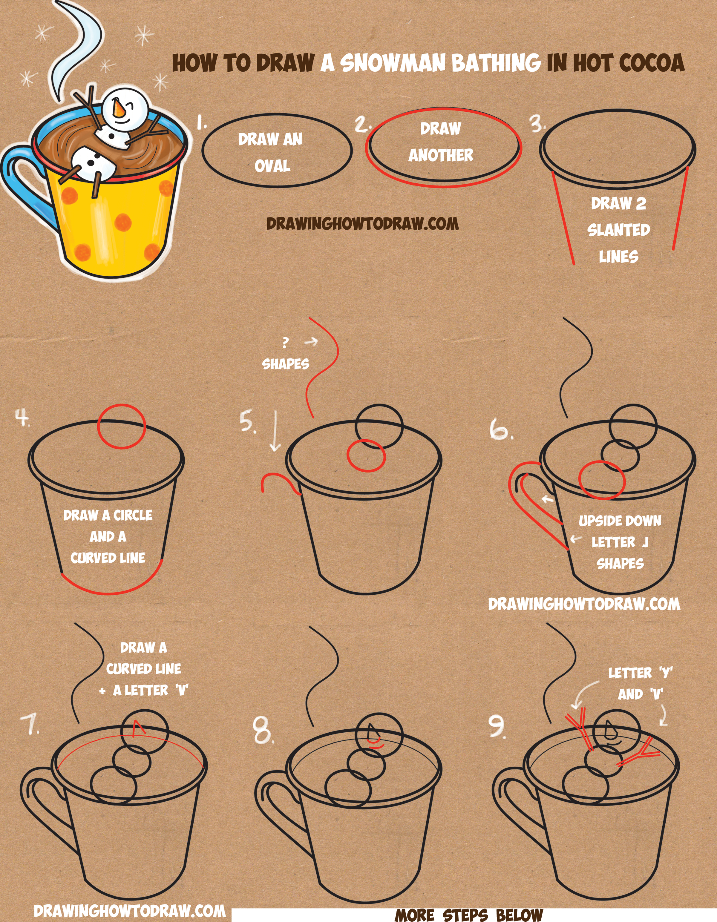 How to Draw a Snowman Bathing in a Hot Cup of Cocoa Easy Step by Step Drawing Tutorial for Kids on Winter