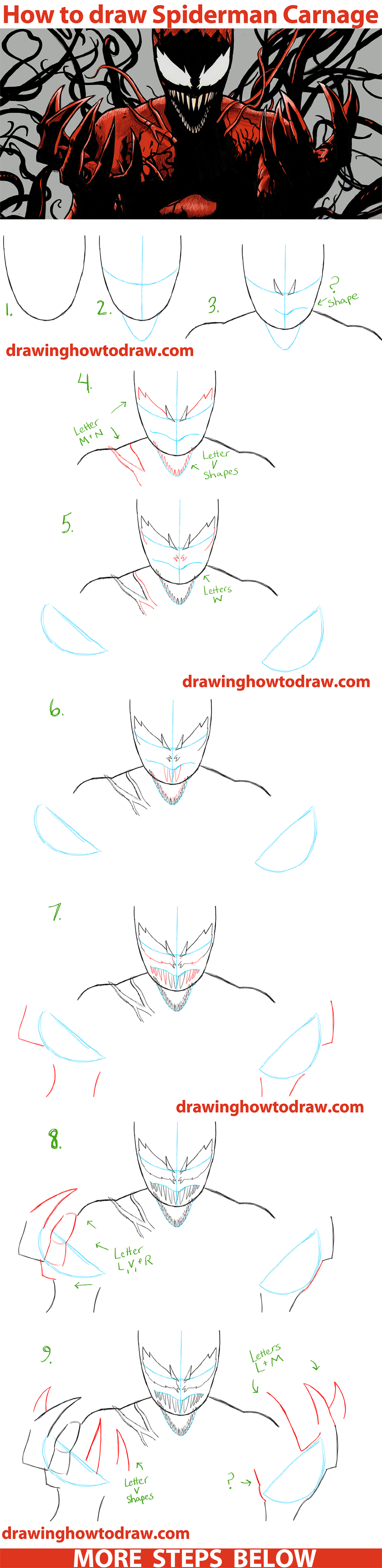 How to Draw Spiderman Carnage from Marvel Comics Step by Step Drawing Tutorial
