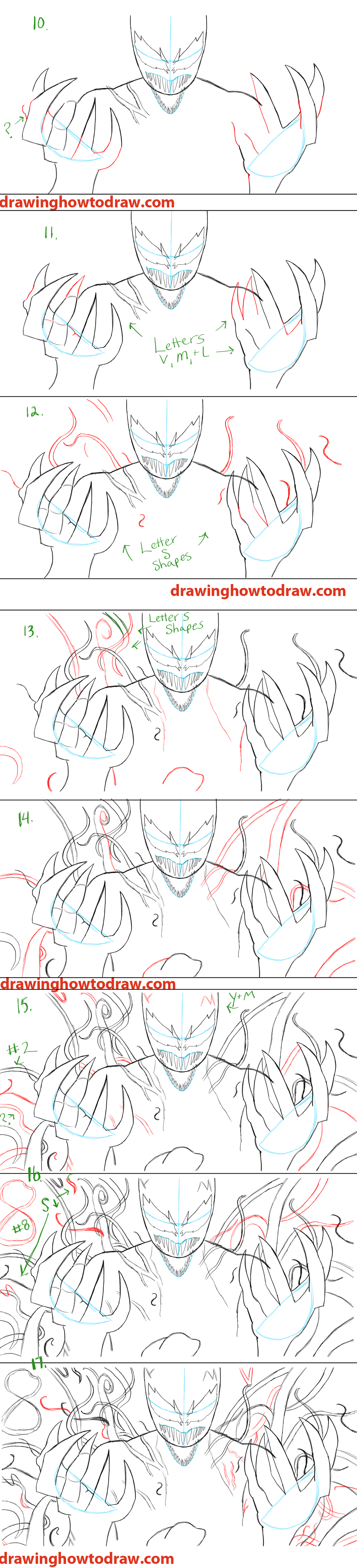 Scribble Drawing Tutorial : How to draw spiderman carnage from marvel comics step by