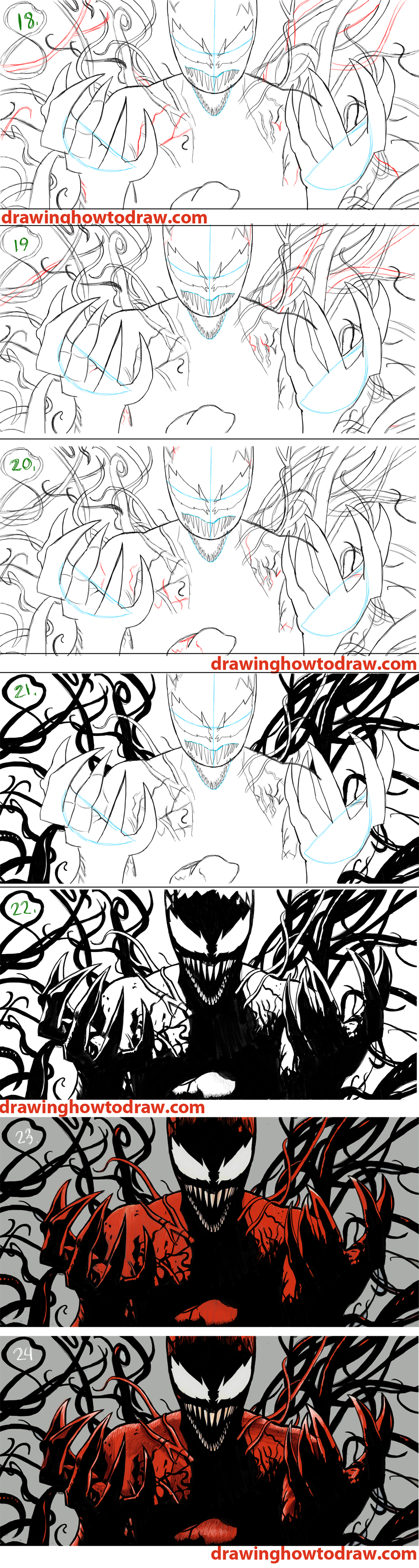 Learn How to Draw Spiderman Carnage from Marvel Comics Simple Steps Realistic Drawing Lesson